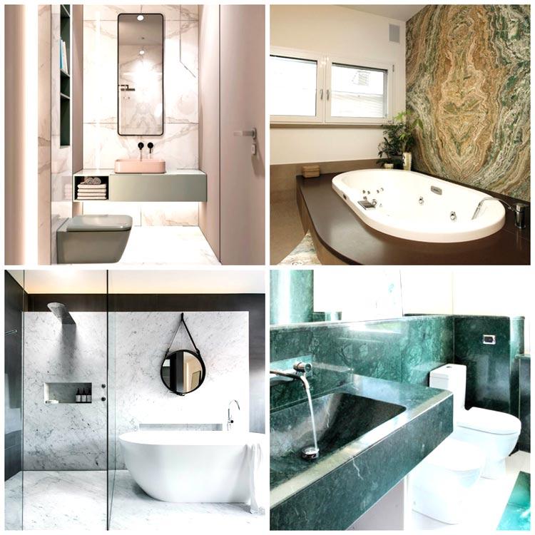Bagni ristrutturati in marmo
