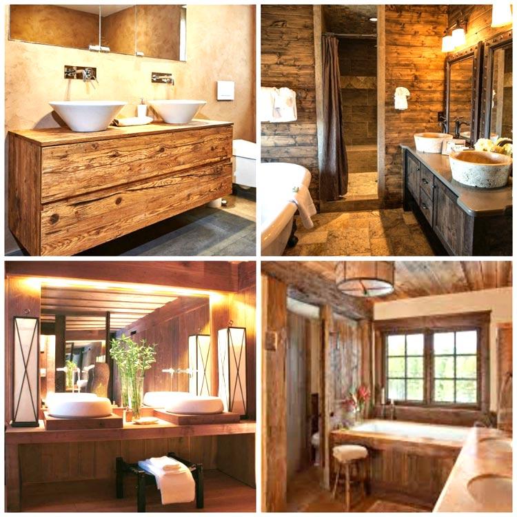 Bagni ristrutturati usando il legno
