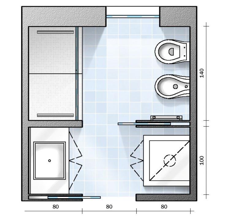Progetto bagno quadrato 6 mq soluzione 1