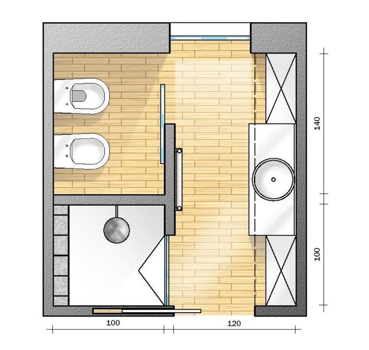 Progetto bagno quadrato 6 mq soluzione 2
