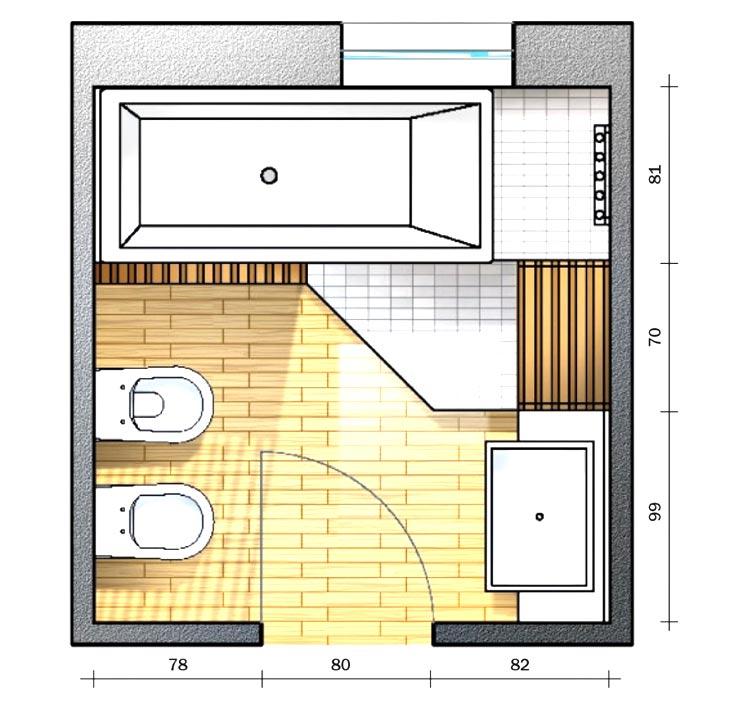 Progetto bagno quadrato 6 mq soluzione 3