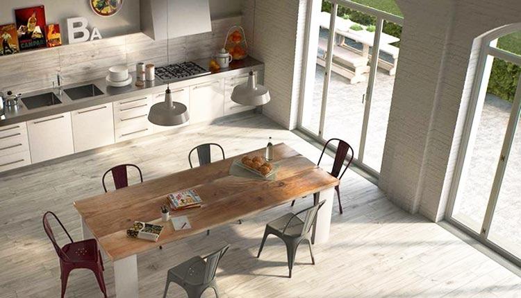 Cucina con grés effetto legno