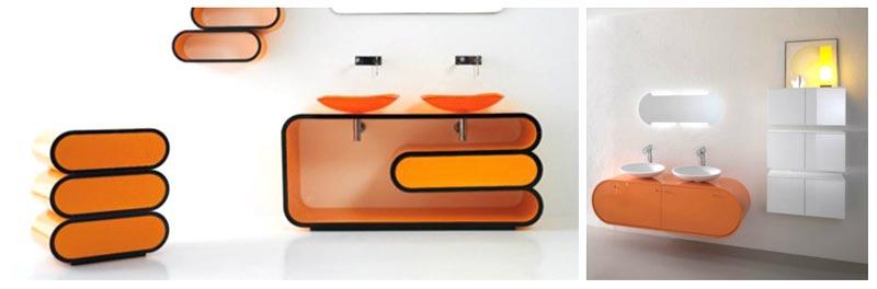Progetto restauro bagno con tonalità arancio