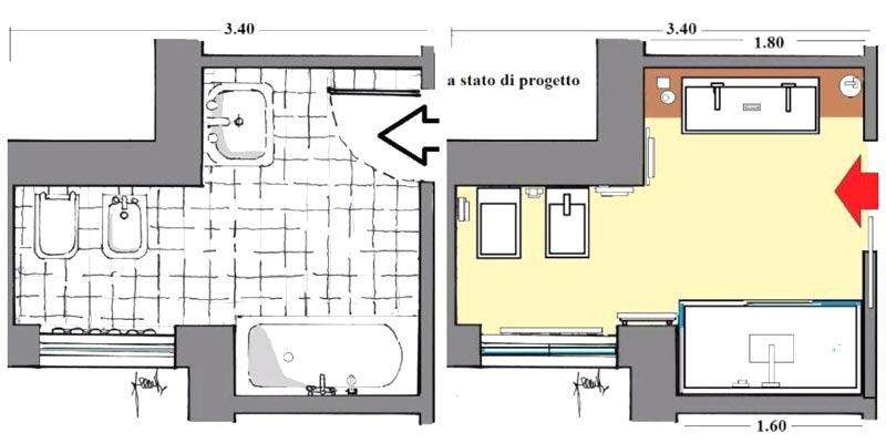 Progetto prima e dopo in pianta di una ristrutturazione bagno