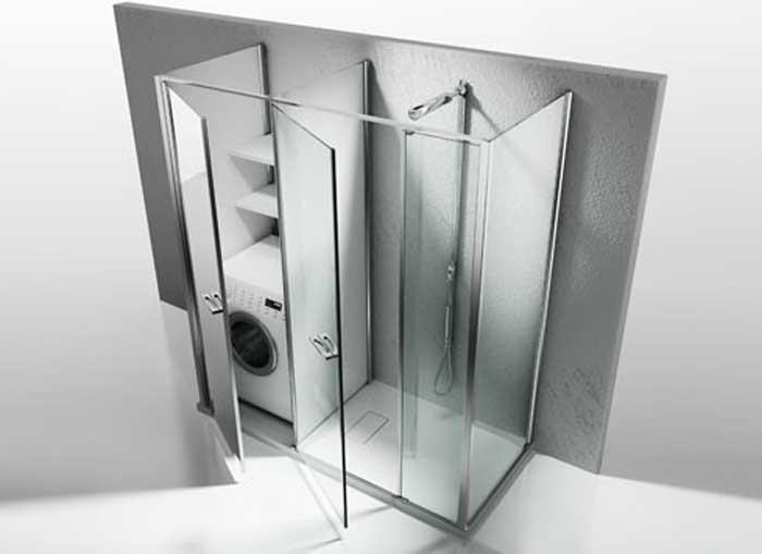 Box doccia con lavatrice integrata