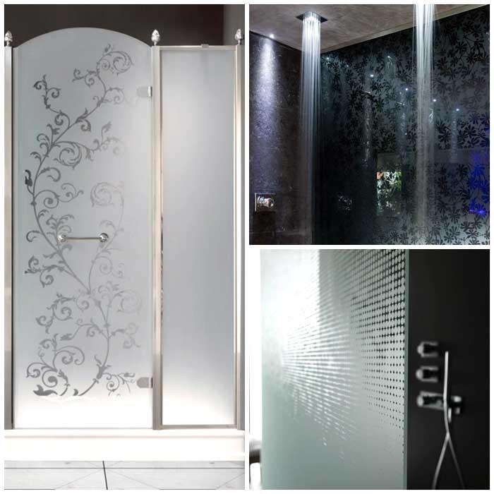 Box doccia con vetri colorati