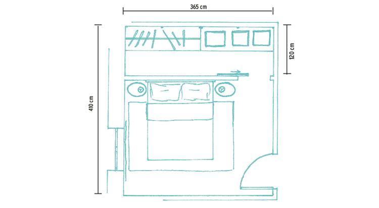 Cabina armadio in cartongesso dietro letto