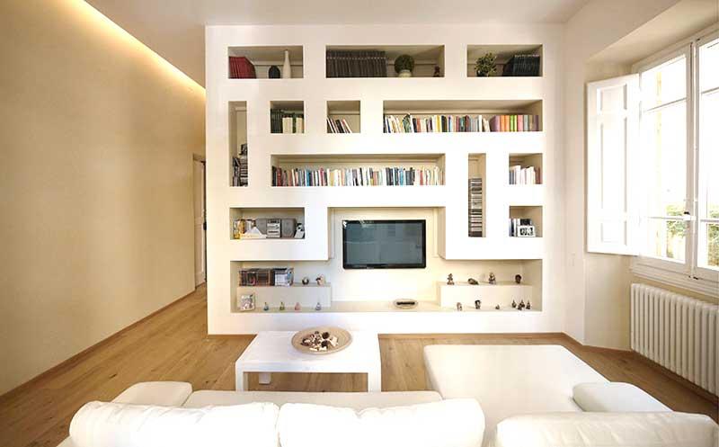 Libreria in cartongesso con tv foto esempio