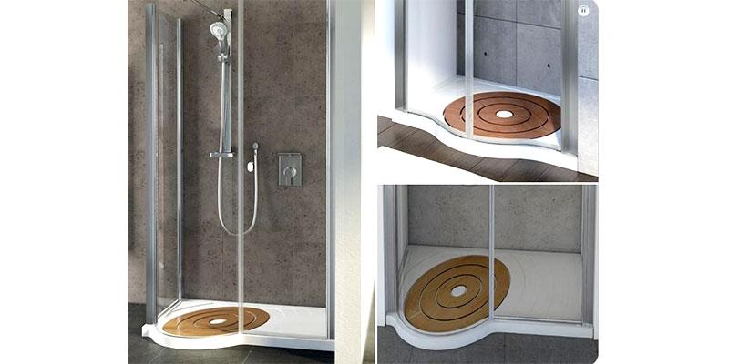 foto piatto doccia circolare in legno