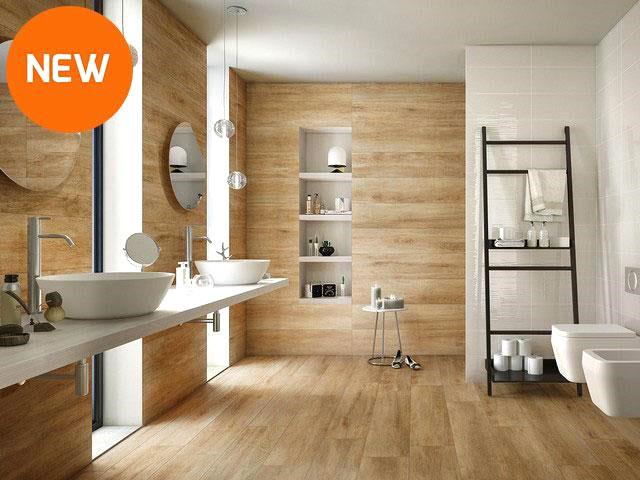 rivestire bagno con effetto legno rustico