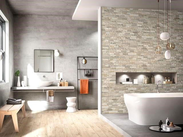 gres porcellanato effetto pietra per rivestimento bagno