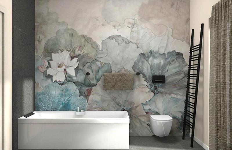 esempio di elegante rivestimento per il bagno floreale