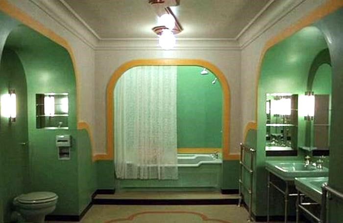 esempio di rivestimento per il bagno design anni 70