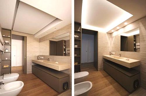 controsoffitto in cartongesso bagno moderno