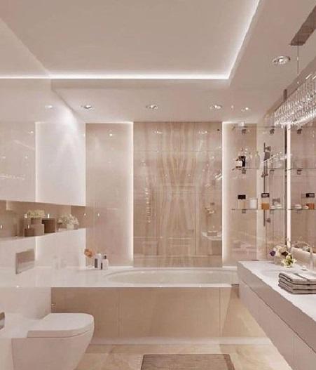 bagno doppia illuminazione con controsoffitto in cartongesso