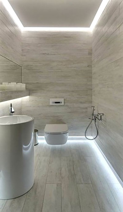 controsoffitto in cartongesso per bagno in gres con sistema di illuminazione particolare